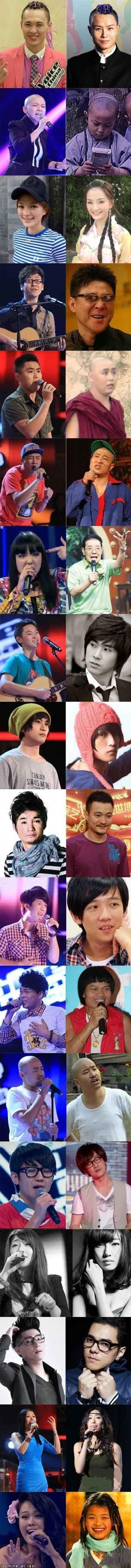 《中国好声音》歌手爆笑撞脸众星终极盘点。。。第五张太喜感了。。。