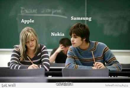 苹果,三星,诺基亚!!哈哈哈哈 太内涵了~~