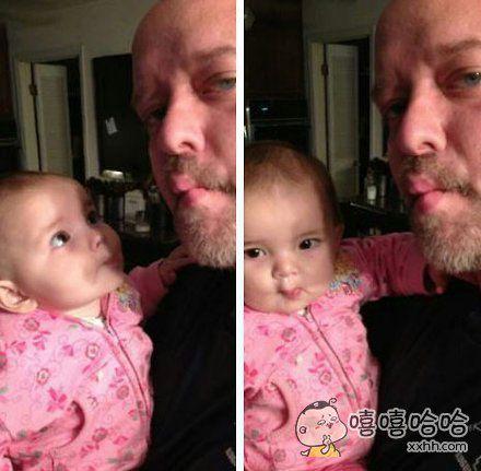一位大叔教自己的孙女如何把嘴嘟成金鱼嘴,爷俩都萌毁了