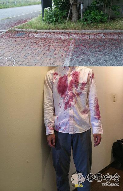 一小哥出门全力狂奔赶公车,一不小心摔倒在一片熟透的杨梅上……当时还以为自己死了