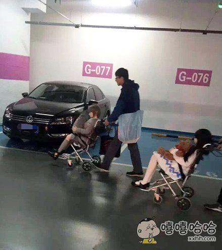 嘿~小王,你也带媳妇出来遛弯了