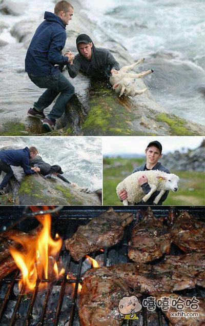 两小伙勇救掉进河里的小羊,真是感动人心。