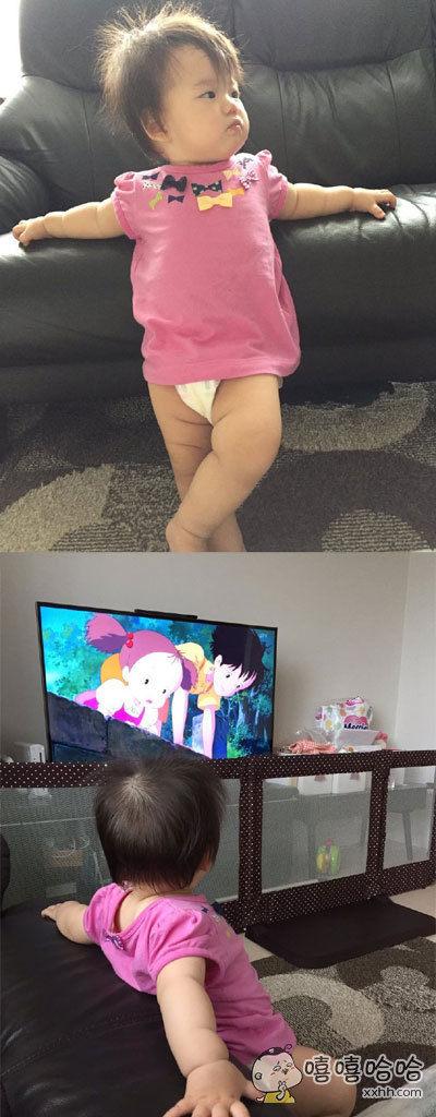 这位刚刚出生11个月的宝宝在看人生的第一部宫崎骏动画的时候,是这种超级大爷的态度