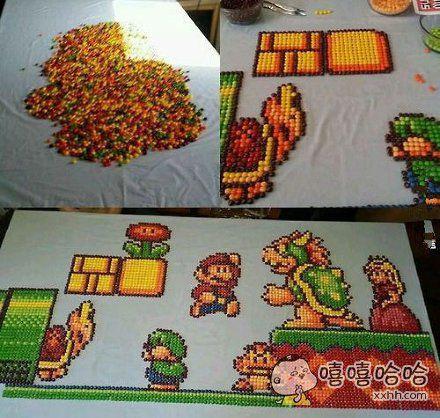 网友用巧克力豆拼成一副游戏中马里奥的图片,看完之后,我也是惊呆了