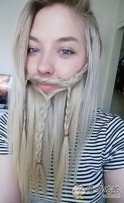 把头发扮成胡子,毫无违和感!