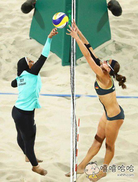 里约奥运会女子沙滩排球预赛,埃及对战德国