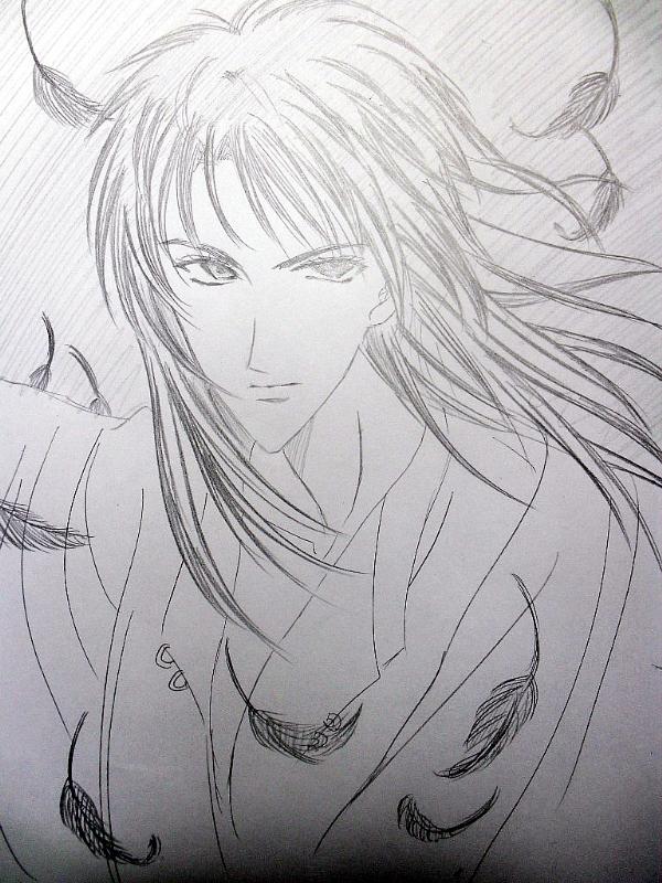 古代妖孽美女黑白手绘