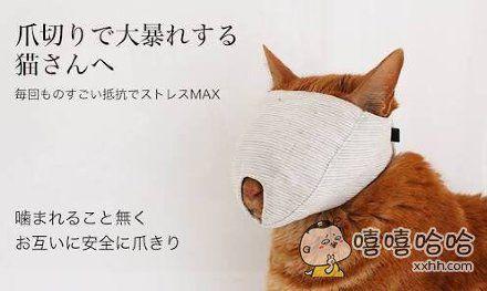 岛国推出的为猫咪剪指甲时专用面罩,防止主人被抓被咬,安全安心。。。可怎么隔着面具就看到了一脸生无可恋