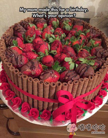 生日收到这样一个草莓蛋糕