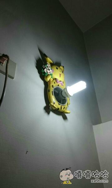 网友发现家里的皮卡丘灯,灯泡好像用错了