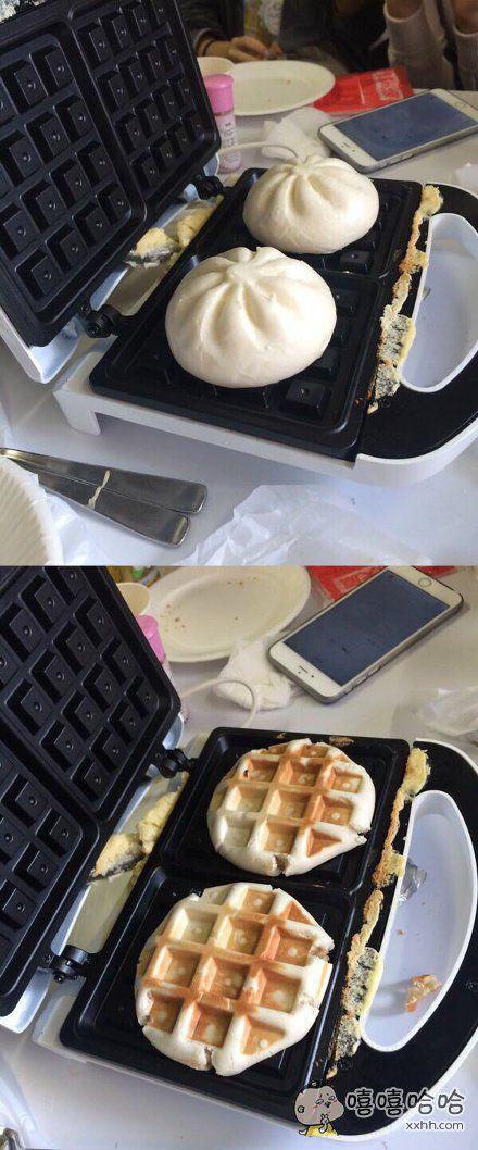 用做华夫饼的饼铛热了包子
