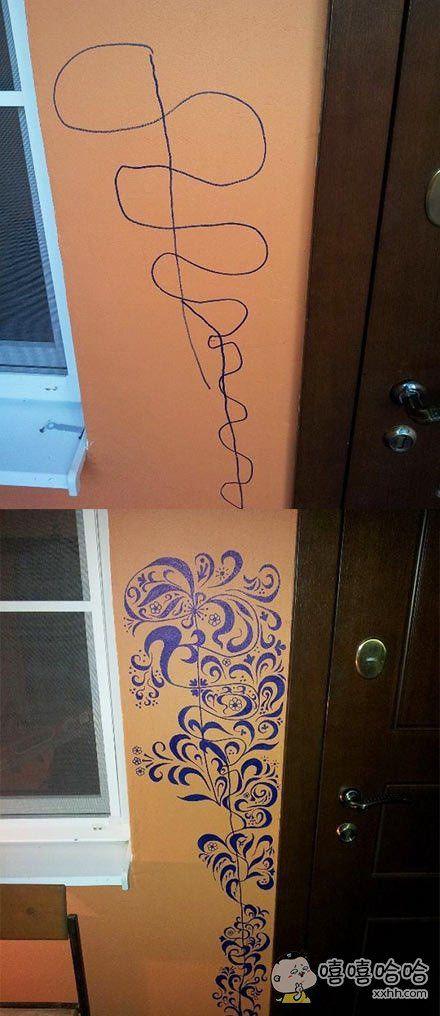 熊孩子墙上乱涂乱画,老爸犀利画工进行修复