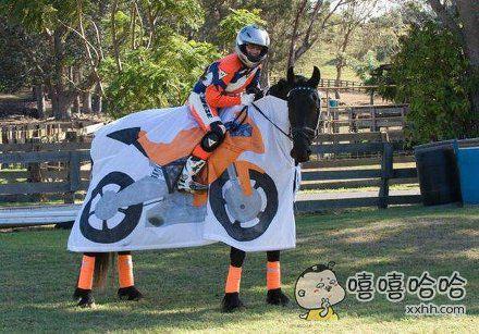我的摩托车,有一匹马力哦!