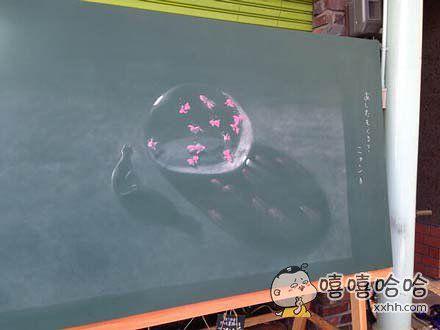 饭店门口的粉笔画