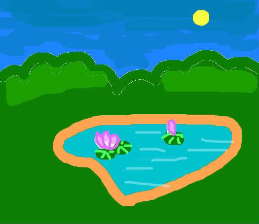 漫画池塘风景图
