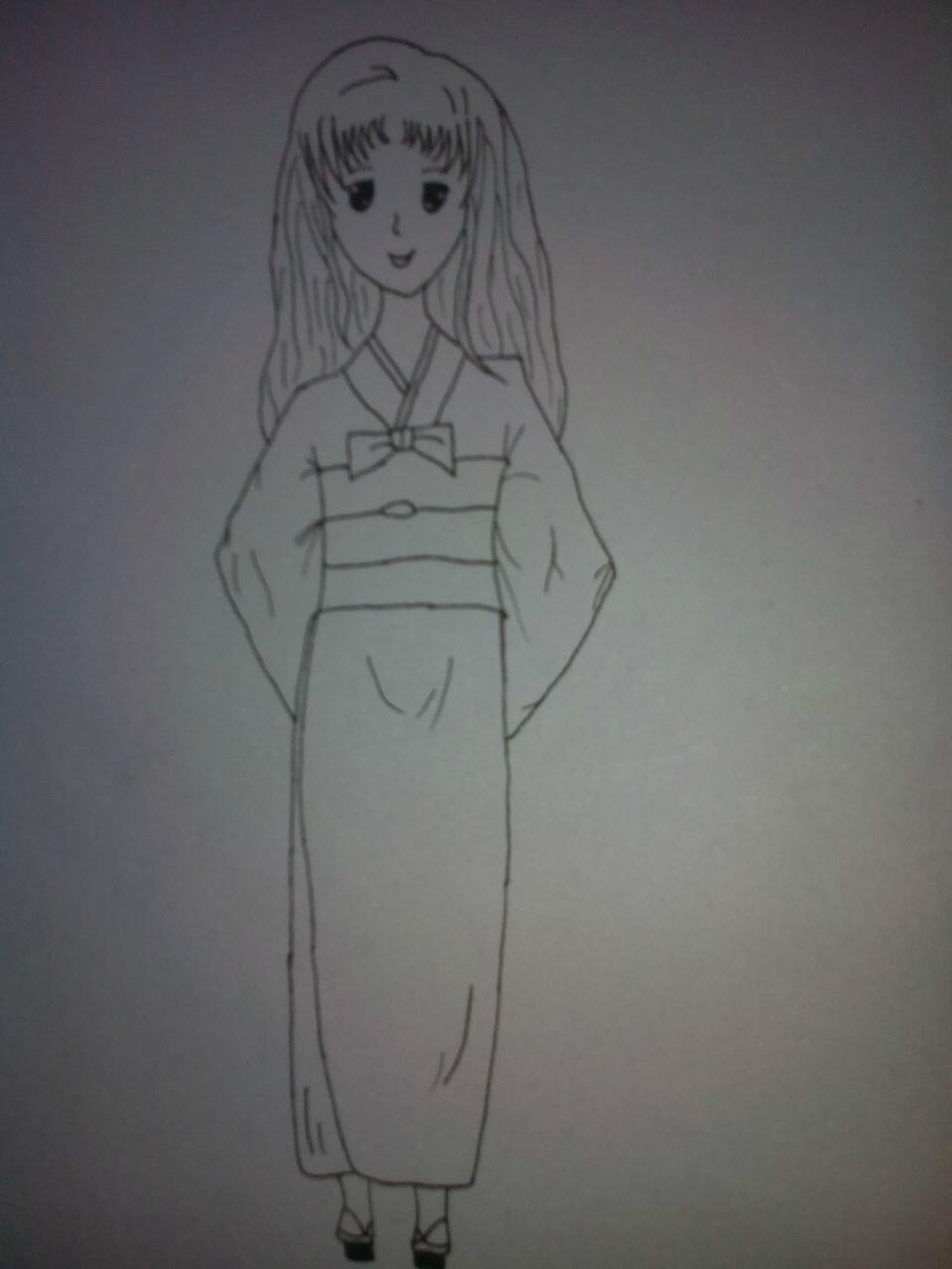 简单古装美女铅笔画_绘画分享