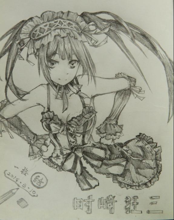 狂三婚纱铅笔画