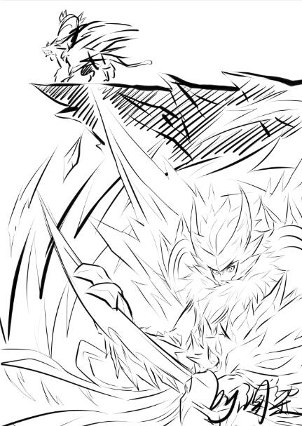 手绘 灵白虎