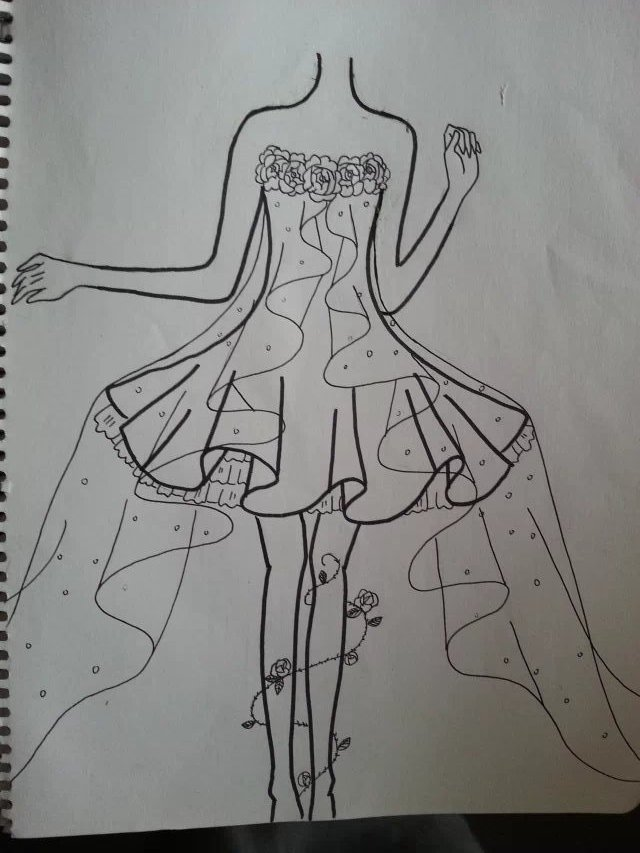 素描裙子设计图片