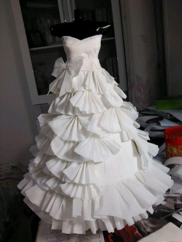 皱纹纸手工制作婚纱裙图片