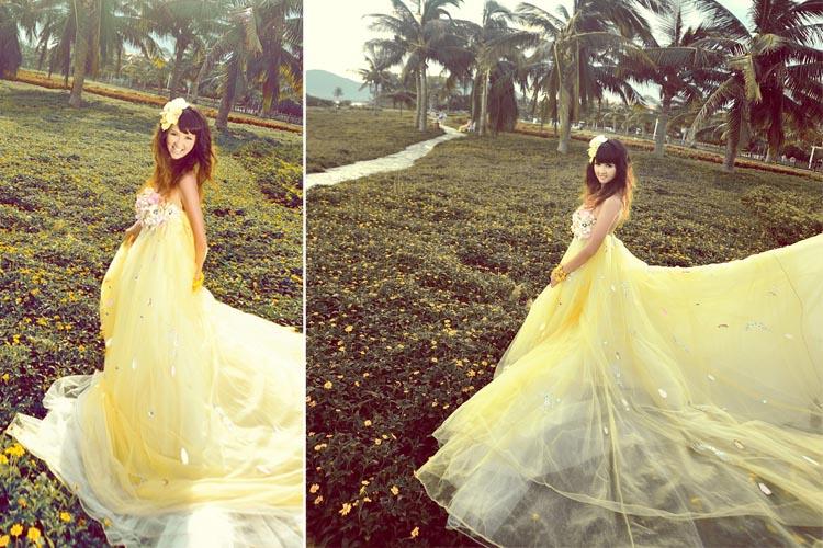 米黄色婚纱背景素材
