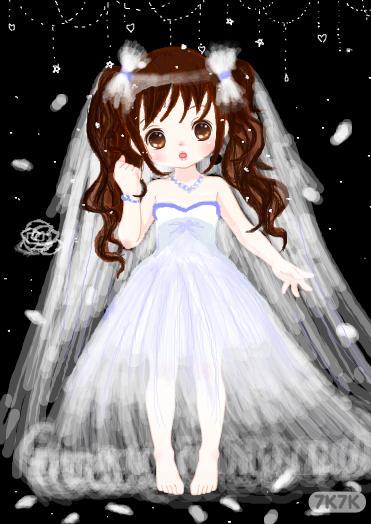 儿童白雪公主婚纱_画画大全