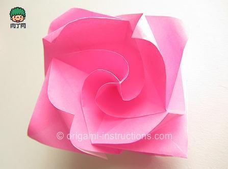 简单旋转折纸玫瑰折纸diy图解教程
