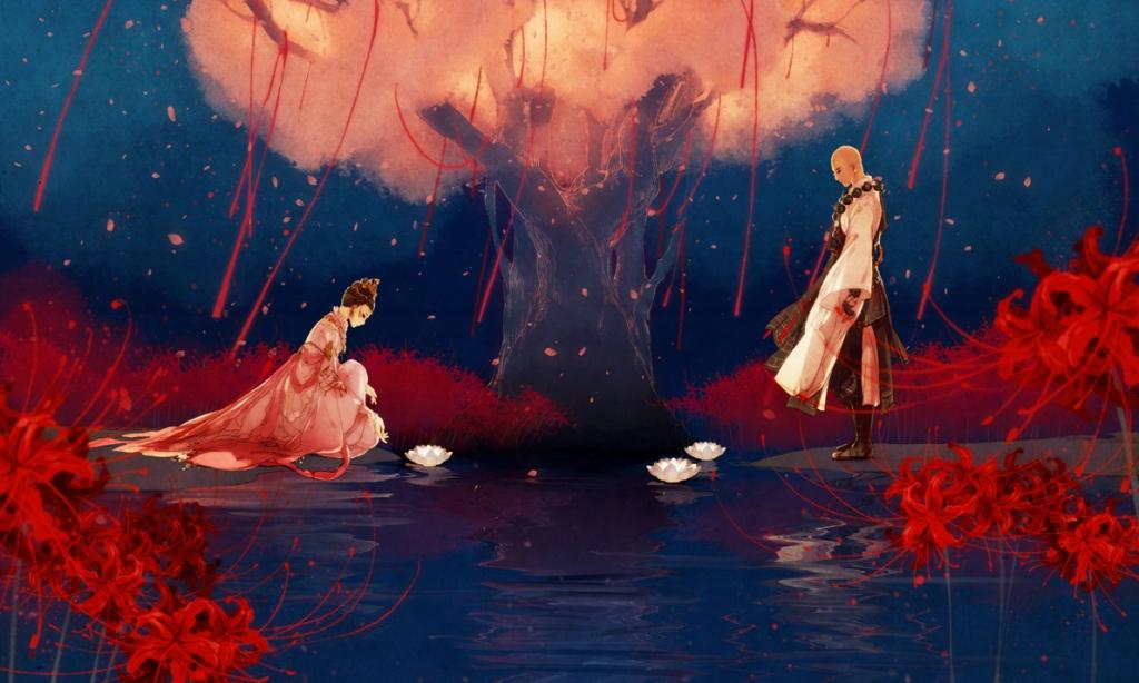 菩提树下定姻缘,月老红线手边牵,彼岸花开过荼糜,花灯长明渡彼岸.
