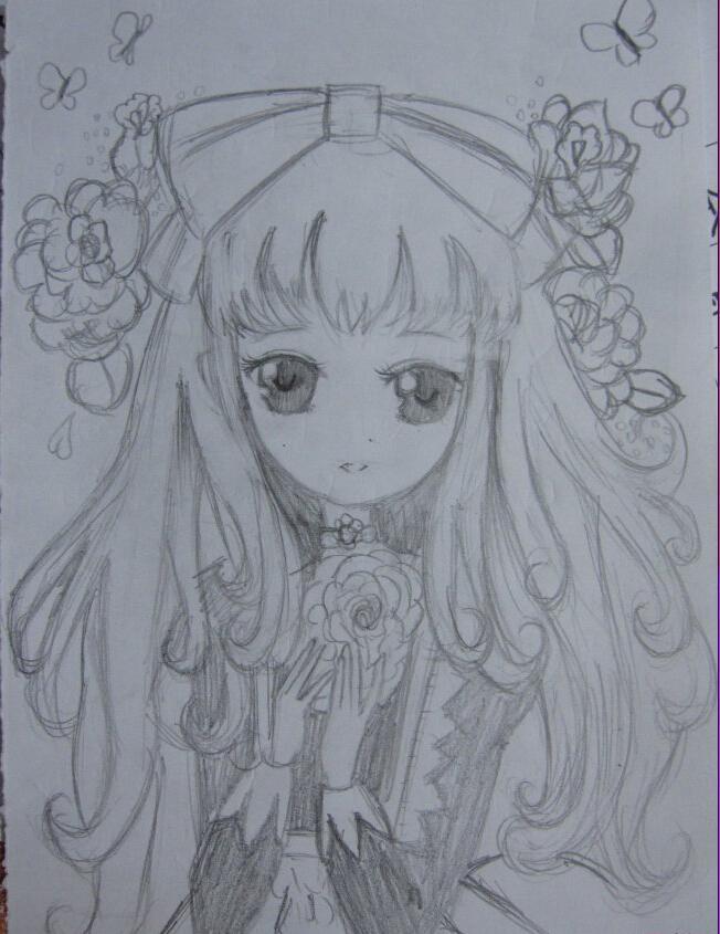 铅笔画古代公主