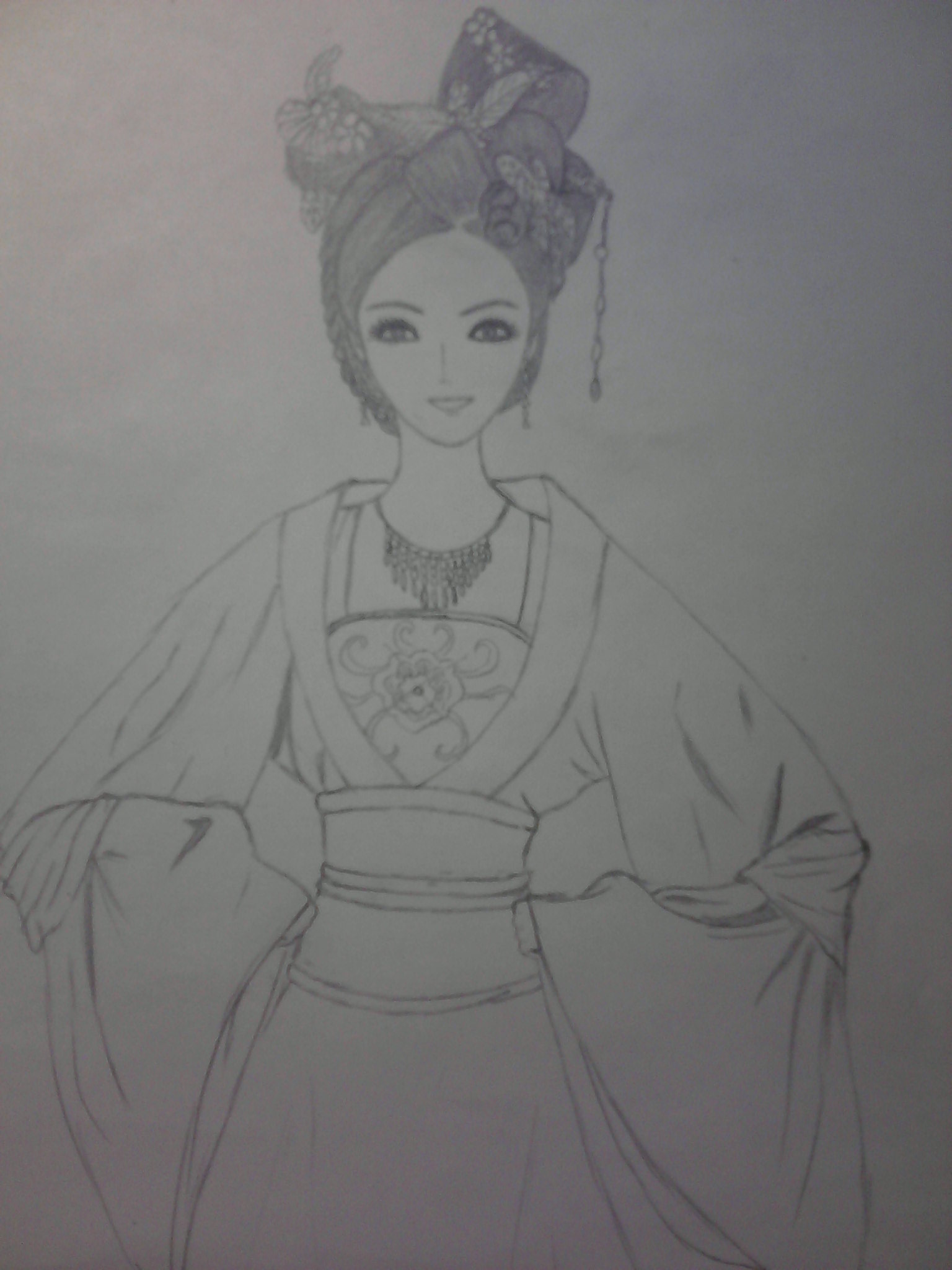 动漫古装美女手绘铅笔-手绘古装美女背影图片-手绘画