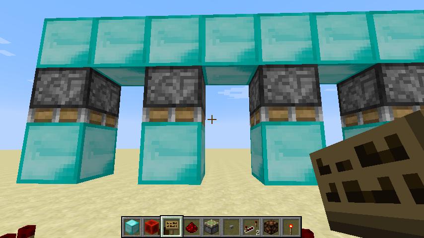 第二,你在沙石上的红石往上垫4格(你右键点一下红石就算垫了一格),然后下来打掉第一格和第三格(从下到上,即放置的顺序),接着在第三格放朝下的粘性活塞,粘性活塞下面一格放任意实体方块(不要是沙子那种受重力影响的),再把第四格连起来。如图所示,这是在考试结束后用来封闭电路的