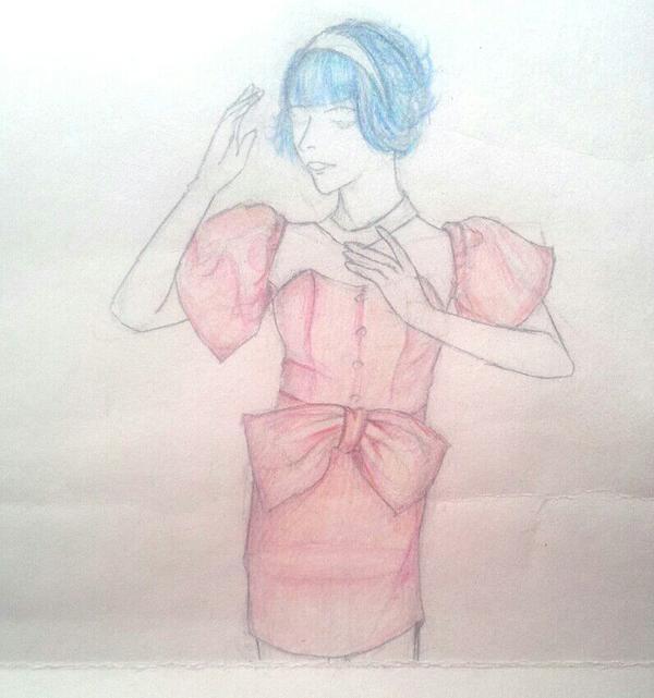 裙子加头发上色【工具是水溶性彩铅