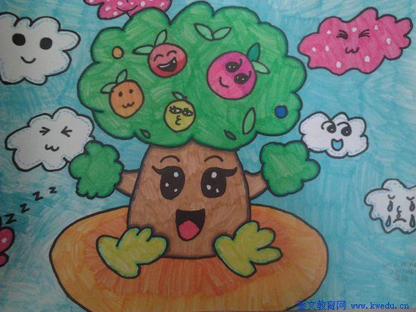 幼儿画苹果树图片大全