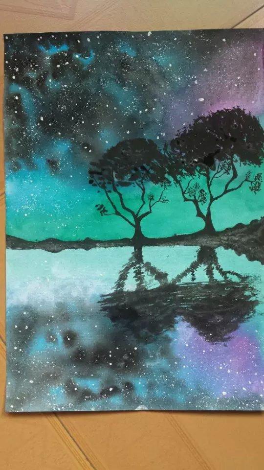 绘的水彩星空怎么画
