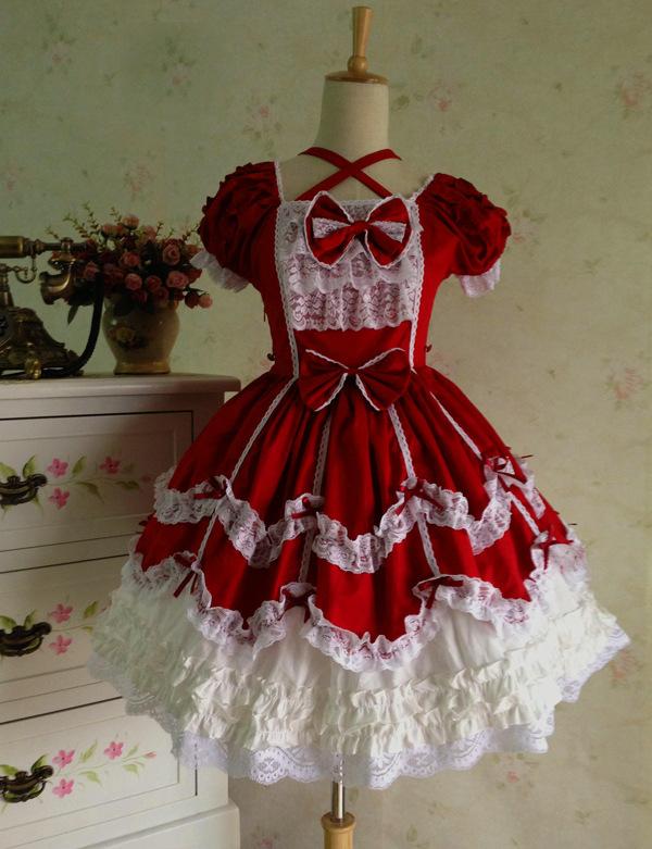 日系可爱萌软妹圣诞红色lolita复古宫廷公主洋装蕾