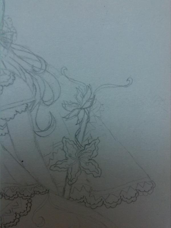 先画上和裙子上的花纹