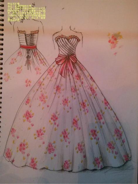 纱裙服装设计手绘图