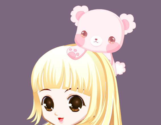 可爱的小熊伸出粉色的小爪子轻轻地趴在主人的头上,眼睛亮晶晶地看着